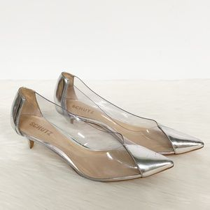 Schutz | Cyou Metallic Vinyl Kitten Heel Pumps 8.5